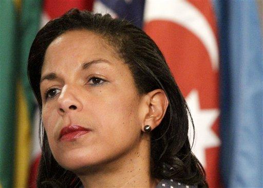 June 7, 2012 file photo: U.S. Ambassador to the U.N. Susan Rice listening during a news conference at the UN. (AP Photo/Bebeto Matthews)
