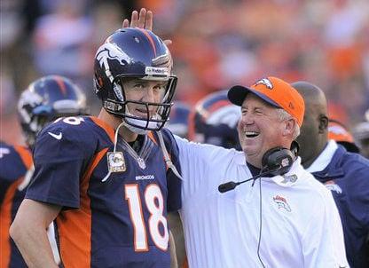 © Denver Broncos coach John Fox taps quarterback Peyton Manning (18) on the helmet after Manning threw a 13-yard touchdown pass against the San Diego Chargers in the second quarter of an NFL football game, Sunday, Nov. 18, 2012, in Denver.