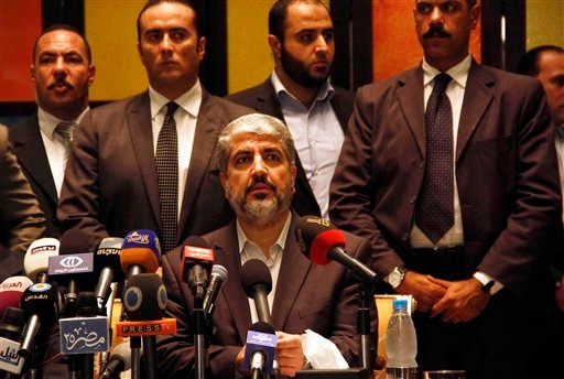 Hamas leader Khaled Mashaal speaks during a press conference in Cairo, Egypt, Wednesday, Nov. 21, 2012 after a cease-fire between Hamas and Israel. (AP Photo/Ahmed Abd el Fatah)