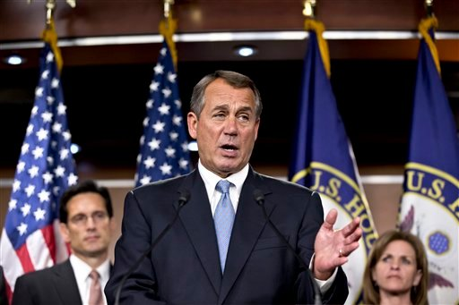 Speaker of the House John Boehner, R-Ohio, speaks to reporters after the House Republicans voted for their leadership for the next session of Congress, at the Capitol in Washington, Wednesday, Nov. 14, 2012.  (AP Photo/J. Scott Applewhite)