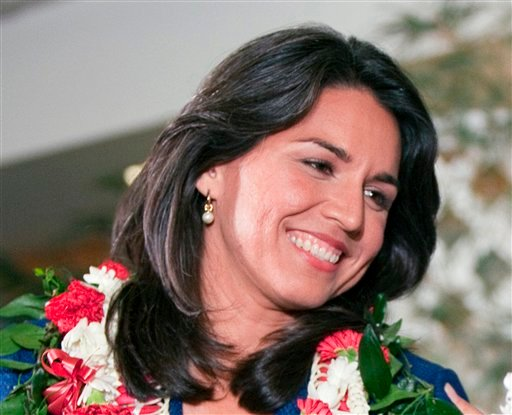© This Nov. 6, 2012 file photo shows Iraq war veterans Rep.-elect Tulsi Gabbard in Honolulu.
