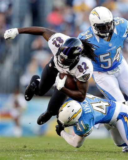 Baltimore Ravens wide receiver Torrey Smith (82) is tackled by San Diego Chargers defensive back Corey Lynch (41) as Melvin Ingram looks on during the second half of an NFL football game, Sunday, Nov. 25, 2012, in San Diego.