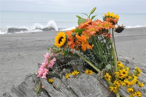  Flowers are rest on a large drift log yards from the breaking surf of the Big Lagoon beach near Trinidad, Calif. on Monday, Nov. 26, 2012.