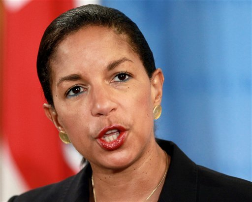 © his April 14, 2012 file photo shows U.S. Ambassador to the United Nations Susan Rice speaking at U.N. headquarters.