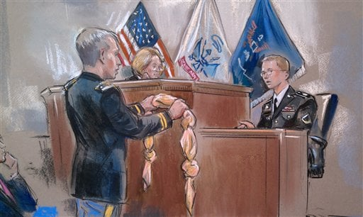 This artist rendering shows Army Pfc. Bradley Manning, right, being shown a bedsheet as he testified in his pretrial Wikileaks hearing in Fort Meade, Md., Friday, Nov. 30, 2012.