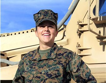 © This Nov. 29, 2012 image provided by the United states Marine Corps shows Lt. Brandy Soublet on the Marine base, 29 Palms in Southern California.