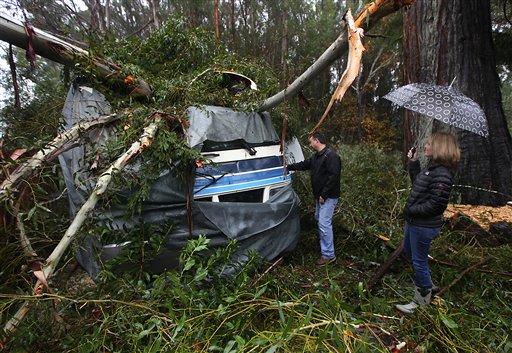 © A large eucalyptus tree crushed the 1994 Southwind motor home of Scott and Jennifer Miller on Lynch Road, Friday, Nov. 30, 2012 in Sebastopol, Calif.