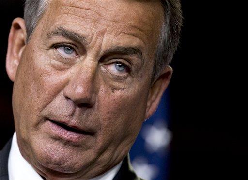 FILE - This Nov. 29, 2012 file photo shows House Speaker John Boehner of Ohio speaking to reporters on Capitol Hill in Washington. (AP Photo/J. Scott Applewhite, File)