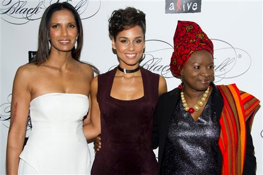 © Padma Lakshmi, left, Alicia Keys, center, and Angelique Kidjo attend the Keep a Child Alive's ninth annual Black Ball on Thursday, Dec. 6, 2012 in New York.