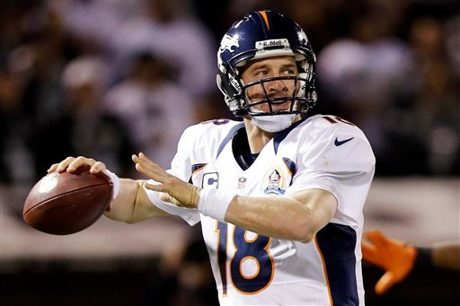  Denver Broncos quarterback Peyton Manning throws against the Oakland Raiders during the second quarter of an NFL football game in Oakland, Calif., Thursday, Dec. 6, 2012. The Broncos won 26-13.