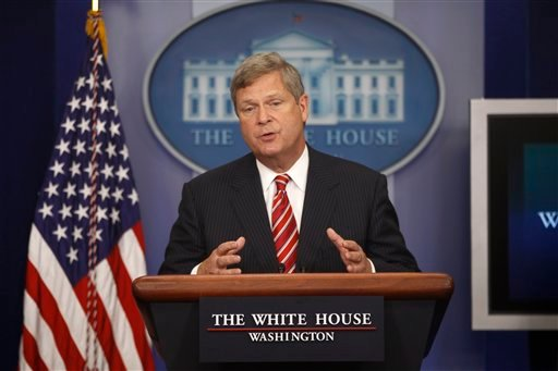 © In this July 18, 2012, file photo, Agriculture Secretary Tom Vilsack talks about the drought during a press briefing at the White House in Washington.