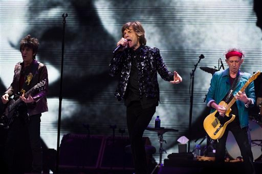  Ronnie Woods, from left, Mick Jagger and Keith Richards of The Rolling Stones perform in concert on Saturday, Dec. 8, 2012 in New York.