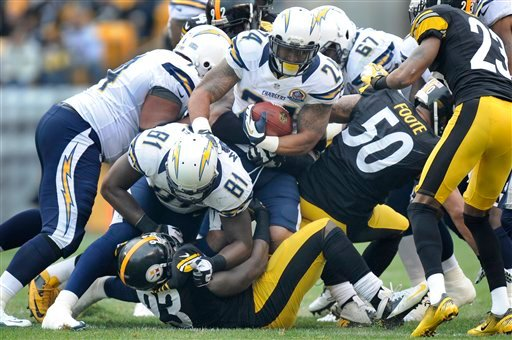 © San Diego Chargers running back Ryan Mathews (24) runs into the line as tight end Randy McMichael (81) blocks Pittsburgh Steelers outside linebacker Jason Worilds (93) in the first quarter of an NFL football game on Sunday, Dec. 9, 2012, in Pittsburgh.