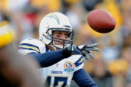 San Diego Chargers quarterback Philip Rivers (17) passes in the first quarter of an NFL football game against the Pittsburgh Steelers on Sunday, Dec. 9, 2012, in Pittsburgh.