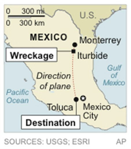  Map locates crash of plane believed to be carrying Mexican-American music superstar.