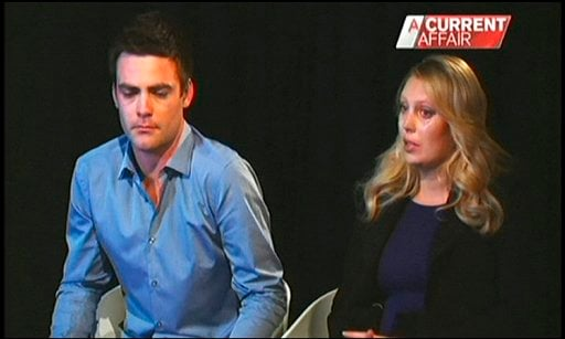 """© In this image made off video footage recorded Monday, Dec. 10, 2012 and aired later in the day in """"A Current Affair"""" program by Australia's Channel Nine, Australian radio DJs Michael Christian, left, and Mel Greig appear during an interview on TV."""