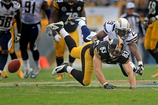  Pittsburgh Steelers tight end Heath Miller (83) can't catch a pass as San Diego Chargers defensive back Shareece Wright (29)defends in the second quarter of an NFL football game in Pittsburgh, Sunday, Dec. 9, 2012.