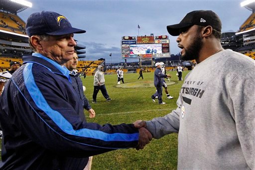 © Pittsburgh Steelers head coach Mike Tomlin, right, talks with San Diego Chargers head coach Norv Turner after the Charger's 34-24 win in an NFL football game in Pittsburgh, Sunday, Dec. 9, 2012.