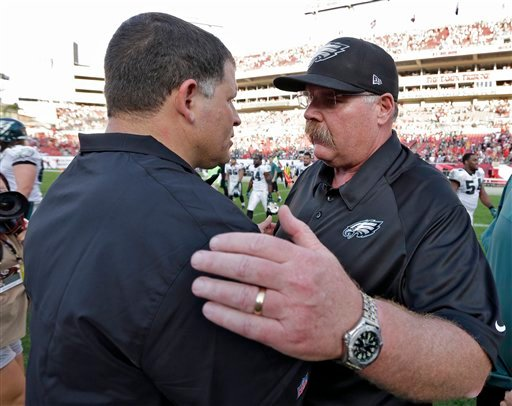  Philadelphia Eagles head coach Andy Reid, right, consols Tampa Bay Buccaneers head coach Greg Schiano after the Eagles defeated the Buccaneers 23-21 during an NFL football game Sunday, Dec. 9, 2012, in Tampa, Fla.