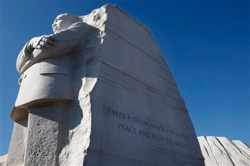 This Jan. 15, 2012 file photo shows the Martin Luther King, Jr. Memorial in Washington, with the quote carved on the side of new memorial in Washington that will be changed.