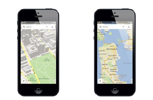 This image made available by google, shows the new Google Maps application, on Thursday, Dec. 13, 2012. (AP Photo/Google)