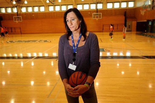 Gabrielle Ludwig, a 6-foot-6-inch transsexual player on Mission College's women's basketball squad, reflects on her return to college ball on Friday, Dec. 7, 2012, in Santa Clara, Calif.