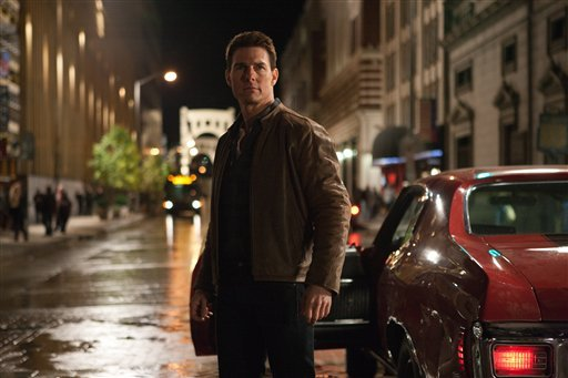 "© This publicity film image released by Paramount Pictures shows Tom Cruise in a scene from ""Jack Reacher."" Cruise plays a former military cop investigating a sniper case."