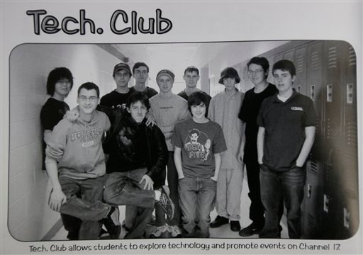 This undated photo shows Adam Lanza posing for a group photo of the technology club which appeared in the Newtown High School yearbook. Authorities have identified Lanza as the gunman who killed his mother at their home and then opened fire.
