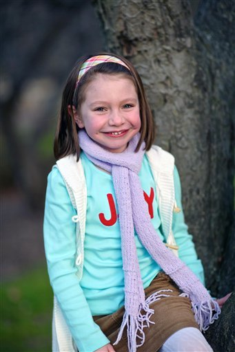 © This Nov. 18, 2012 photo provided by John Engel shows Olivia Engel, 6, in Danbury, Conn. Olivia Engel.