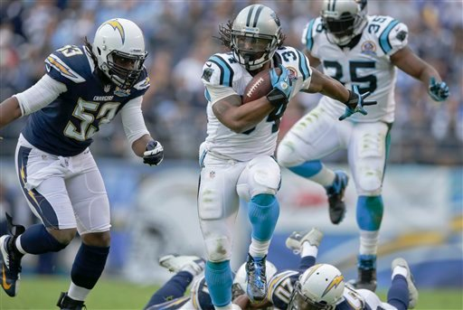 © Carolina Panthers running back DeAngelo Williams breaks tackles on his way to a 45 yard touchdown reception against the San Diego Chargers during the first half of an NFL football game Sunday, Dec. 16, 2012, in San Diego.