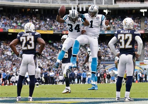 San Diego Chargers' Quentin Jammer and Eric Weddle watch as Carolina Panthers' DeAngelo Williams(34) and Cam Newton(1) celebrate their 45 yard touchdown pass during the first half of a NFL football game.
