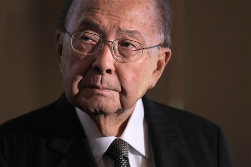 © In this Monday, Sept. 19, 2011 file photo, Sen. Daniel Inouye, D-Hawaii, president pro temper of the Senate, and a recipient of the Medal of Honor, attends a ceremony on Capitol Hill in Washington.