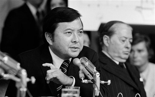 © In this May 19, 1973 file photo, Sen. Daniel K. Inouye, D-Hawaii, a member of the Watergate investigating committee, questions witness James McCord during the hearing on Capitol Hill in Washington.