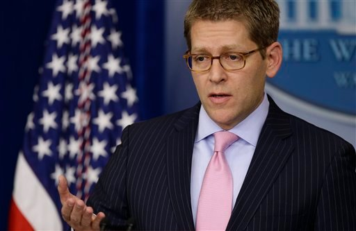 © Press Secretary Jay Carney briefs reporters at the White House in Washington, Monday, Dec. 17, 2012.