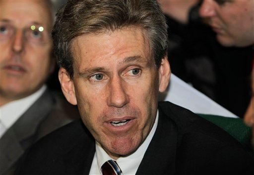 FILE - In this April 11, 2011, file photo, then U.S. envoy Chris Stevens attends meetings at the Tibesty Hotel where an African Union delegation was meeting with opposition leaders in Benghazi, Libya. (AP Photo/Ben Curtis, File)
