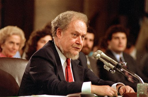 Sept. 16, 1987 file photo: U.S. Supreme Court nominee Robert H. Bork testifies before the Senate Judiciary Committee during his confirmation hearings. Bork, whose failed Supreme Court nomination made history, has died. (AP Photo/Charles Tasnadi)