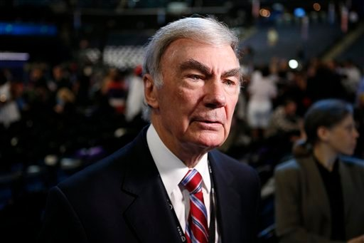 FILE - In this Sept. 5, 2012 file photo, Sam Donaldson is seen on the floor at the Democratic National Convention in Charlotte, N.C. (AP Photo/Jae C. Hong, File)
