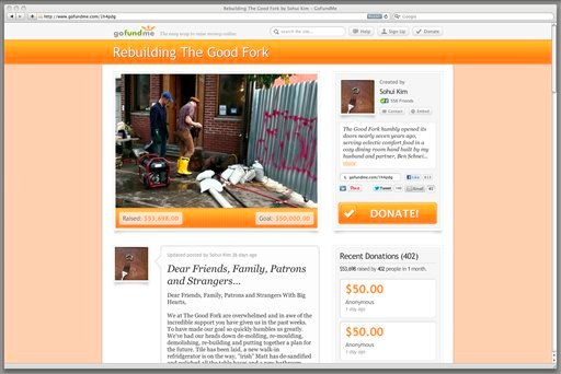 © This Dec. 19, 2012 image shows a frame grab of gofundme.com. This web page solicits donations to rebuild a New York restaurant, The Good Fork.