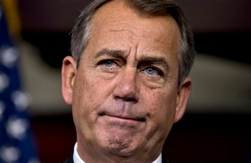 © Speaker of the House John Boehner, R-Ohio, speaks to reporters about the fiscal cliff negotiations at the Capitol in Washington, Friday, Dec. 21, 2012.