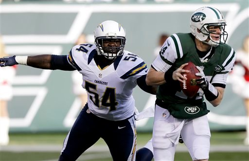 © San Diego Chargers outside linebacker Melvin Ingram (54) chases after New York Jets quarterback Greg McElroy (14) during the first half of an NFL football game on Sunday, Dec. 23, 2012, in East Rutherford, N.J.