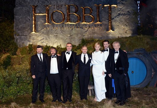 """© From left, Andy Serkis, Peter Jackson, James Nesbitt, Martin Freeman, Cate Blanchett, Richard Armitage and Ian McKellan at the UK premiere of """"The Hobbit: An Unexpected Journey"""" at The Odeon Leicester Square,London on Wednesday, Dec. 12, 2012."""