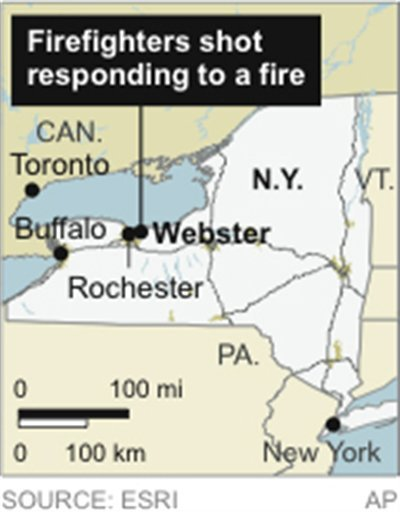 © Map locates Webster, N.Y. where firefighters were shot.