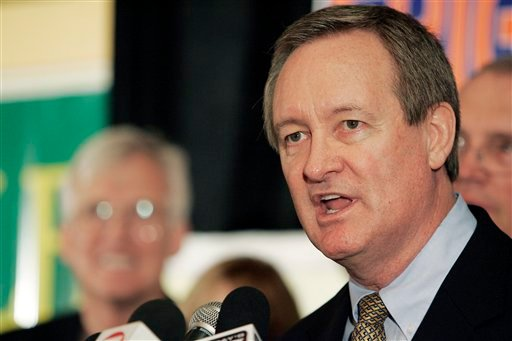 ©  In this Nov. 2, 2010 file photo, U.S. Sen. Mike Crapo, R-Idaho, gives his victory speech at the Republican Party election headquarters held at the Doubletree Riverside Hotel in Boise, Idaho.