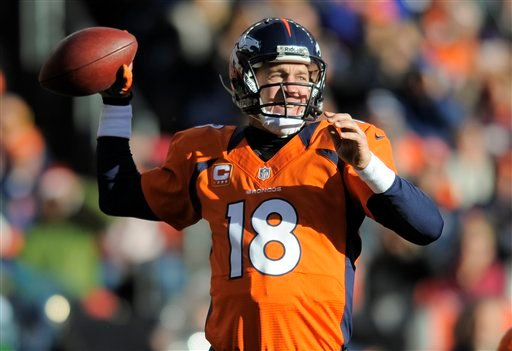 © Denver Broncos quarterback Peyton Manning sets to throw a pass in the second quarter of an NFL football game against the Cleveland Browns, Sunday, Dec. 23, 2012, in Denver. (AP Photo/Jack Dempsey)