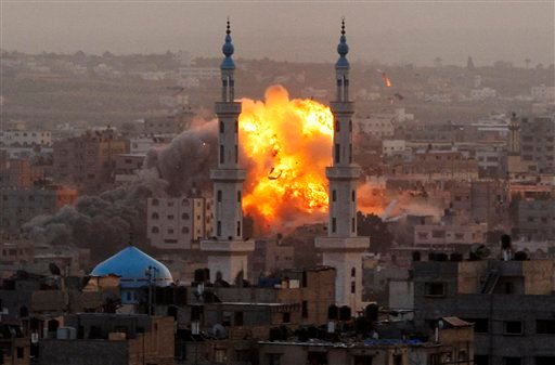 FILE - In this Nov. 17, 2012 file photo, smoke rises during an explosion from an Israeli strike in Gaza City.  (AP)