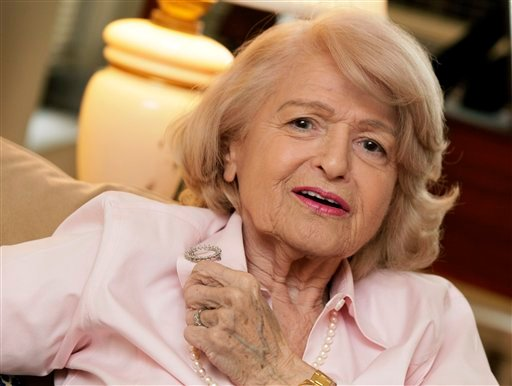 In this Wednesday, Dec. 12, 2012 photo, Edith Windsor speaks during an interview in her New York City apartment. (AP Photo/Richard Drew)