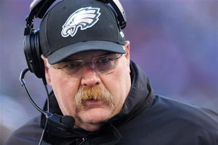Philadelphia Eagles head coach Andy Reid during the first half of an NFL football game against the New York Giants Sunday, Dec. 30, 2012 in East Rutherford, N.J. (AP Photo/Peter Morgan, File)