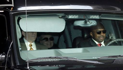 Secretary of State Hillary Clinton, center, is transported on the New York Presbyterian Hospital complex Wednesday, Jan. 2, 2013, in New York. (AP Photo/Frank Franklin II)