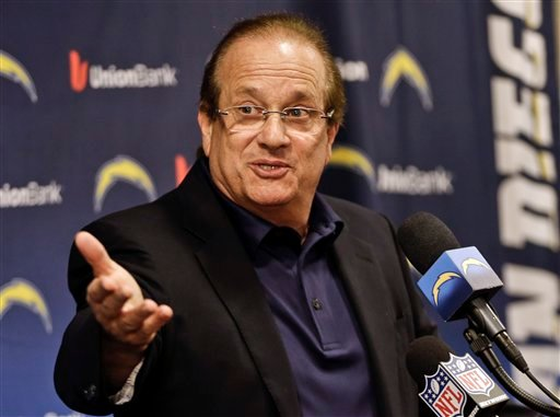 San Diego Chargers President Dean Spanos speaks during an NFL football news conference, Monday, Dec. 31, 2012, in San Diego.