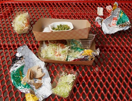 © This Jan. 17, 2012, file photo shows vegetables left over by students on their cafeteria trays at the Roosevelt High School in Los Angeles.